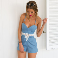 Summer Lace Patchwork Sexy Backless Spaghetti Strap Beach Pants Romper [4933134724]