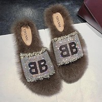 """BALENCIAGA"" Autumn Winter Newest Popular Women Casual Shiny Diamond Fur Flat Slipper Shoes Light Coffee"