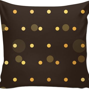 ROCP Brown and Gold Polka Dot Couch Pillow