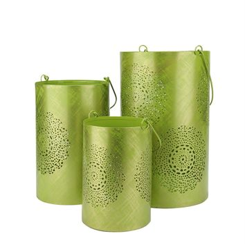 """Set of 3 Green and Gold Decorative Floral Cut-Out Pillar Candle Lanterns 10"""""""