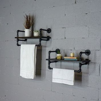 Denver 2-Piece Industrial Farmhouse Wall Shelf Rack Set