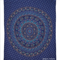 Blue Elephant Medallion Tapestry Mandala Wall Hanging Bedspread