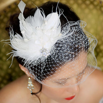 Ivory Bridal Head Piece Feather Fascinator Vintage Inspired Rhinestone Wedding Hair Piece - Made to Order - LANA