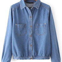 Double Pocket Long Sleeve Denim Jacket
