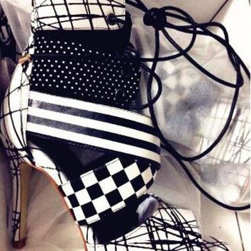 ESBONEJ Leather Black and White Peep Toe Geometric High Heel Lace-up Booties