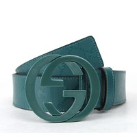 GUCCI NEW Authentic Imprime Belt w/Interlocking G Buckle Teal