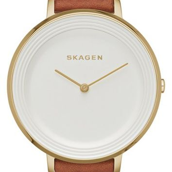 Women's Skagen 'Ditte' Round Textured Dial Watch, 37mm - Saddle/ Gold (Nordstrom Exclusive)