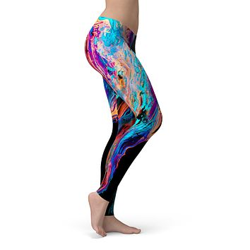 Liquid Abstract Paint V71 - All Over Print Womens Leggings / Yoga or Workout Pants