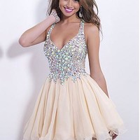 Buy discount Charming Lace & Chiffon A-line Halter Neckline Short Homecoming Dress With Rhinestones at Dressilyme.com