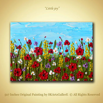 Spring flowers painting colorful flower art Impasto Acrylic floral art Colorful landscape wall artwork small canvas art 3d flower modern art