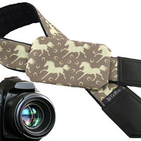 Camera strap with horses. Soft and padded camera accessory with cap pocket. Bright gift for animal lovers. Gifts for everyone.