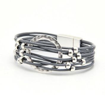 ZG 2018 wrap leather bangle charm leather bracelet with simulated beads 2 layer women jewelry gift in mat silver color