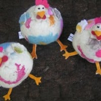 Handmade Felt Toy - Cute Round Chicken