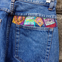 High Waisted Jeans Vintage 1980s Jordache Patches Denim Waist