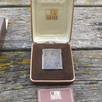 Vintage WIN Electronic Lighter Alfie No Flint No Battery Art Deco Silver Metal Pocket Lighter