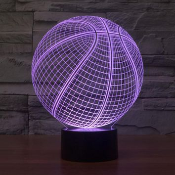 7 color change 3D Ilusion Basketball Shape LED Sculpture LED Night Lights Desk Lamp Visualization Home Decoration lamp IY803381