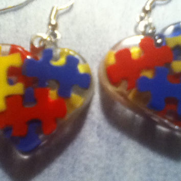 Autism Awareness Heart Puzzle Piece Clay Resin Dangle French Hook Earrings, Autism Jewelry, Autism Gift, Autism Mom, Red, Blue, Yellow