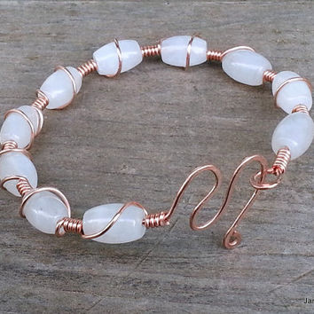 Stone Bangle Bracelet, White Milky Jade Copper Wire Wrap Bangle Bracelet, Boho Coil Bangle Cuff Stone Beaded Bracelet Bridesmaid Bridal Gift