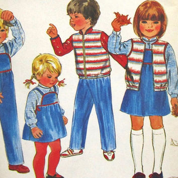 Butterick 3995 Uncut Pattern Child's Jacket Shirt Vest Shirt Overalls Jumper and Applique Vintage Sz 6