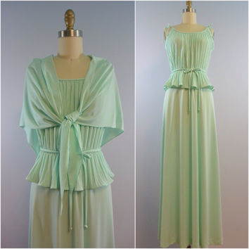 Vintage Pastel Mint Green Accordian Pleated Two Piece Maxi Dress with Matching Scarf
