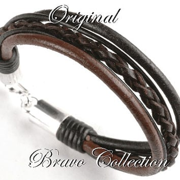 7B-234 Aussie Made Hallmark 925 Sterling Silver Clasp Leather New Men Bracelet