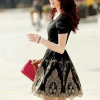 embroidery elegant black 2013 dress final sale L132 --- search for me in Marketplace
