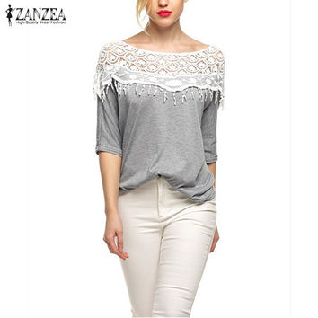 Plus Size S-5XL 2016 New Blusas Femininas Casual Summer Tops Women Hollow Crochet Shawl Collar Lace Top Blouse Shirt Clothing