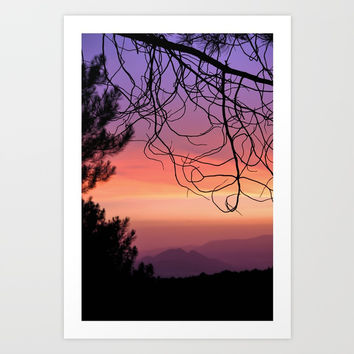 Purple sunset. At the woods Art Print by Guido Montañés