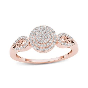 1/5 CT. T.W. Composite Diamond Frame Infinity Collar Engagement Ring in 14K Rose Gold