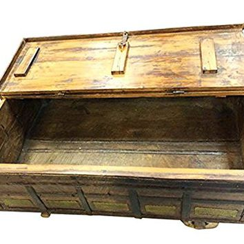 Mogulinterior Antique Trunk Chest on Wheels Coffee Table Brass Cladded