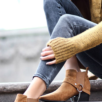 Faux Suede Chain Booties