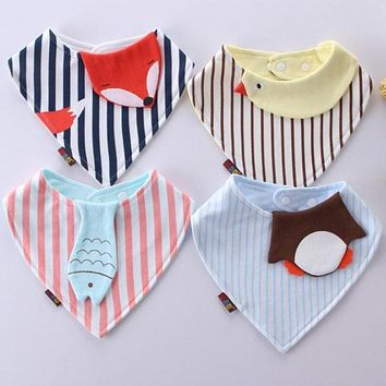 New Style cartoon animals Baby Bibs Bandana Animal Fox Striped Toddler Newborn Triangle Scarf Feeding Cotton Bibs Burp Cloth
