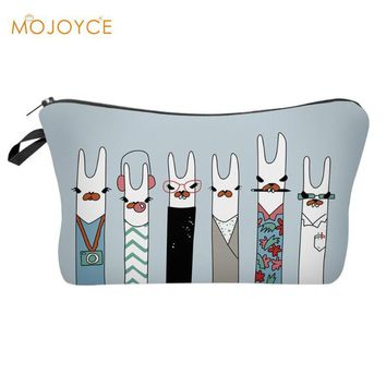 Cute 3D Alpaca Printing Makeup Bags Cosmetic Storage Bag Organizer Women Fashion Travel Pouch 2019 New