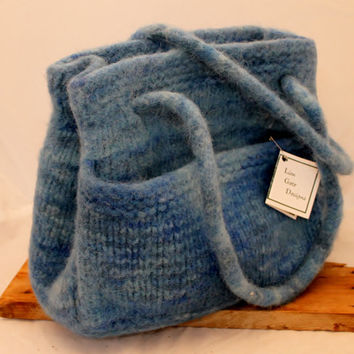Purse, Hand Knit, Blue Hand Dyed, Wool Purse
