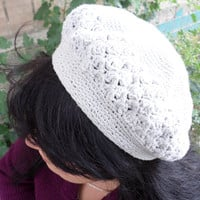 beret crocheted in  boho style,  for autumn,grey beret,beret cotton,tenderness,beret for women,suitable for all face shapes
