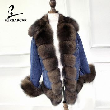 FURSARCAR 2017 New Parka Jacke 100% Real Fox Fur Coat Genuine Fox Fur Collar Jacket Winter Warm For Women Outwear Denim Jacket