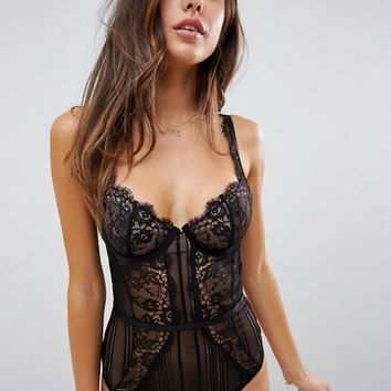 ASOS DESIGN Morgan linear lace underwire bodysuit at asos.com