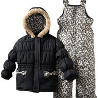 Pink Platinum Little Girls'  Leopard Snowsuit