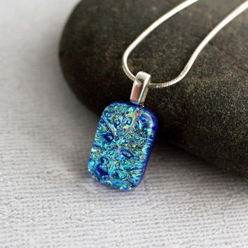 Unique Necklace For Women - Dichroic Glass Jewelry - Blue Pendant Necklace - Unique Pendant - Fused Glass Necklace - Ready To Ship