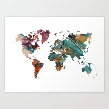 Map of the World triangle Art Print by jbjart