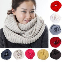 Men Women Winter Warm Infinity 2 Circle Cable Knit Cowl Neck Long Scarf Shawl #mgsu = 1958020932