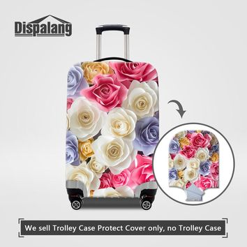 Dispalang travel on road luggage cover colorful rose floral printing portable elastic stretch 18-30 inch protect suitcase covers