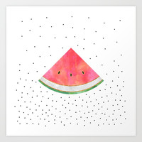 Pretty Watermelon Art Print by Elisabeth Fredriksson