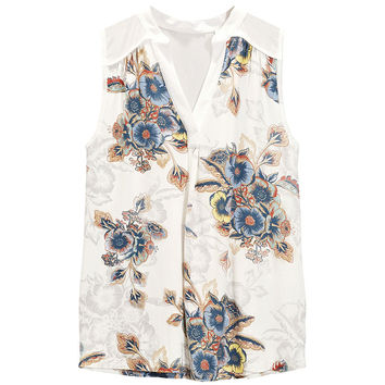 Casual Floral Printed Sleeveless V-Neck Blouse