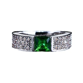 Green White Gold Color Women Ring