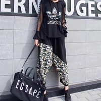 """Adidas"" Women Casual Fashion Multicolor Camouflage Print Hooded Gauze Long Sleeve Set Two-Piece Sportswear"