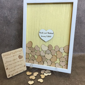 Guest Book Alternative  Wedding Guest Book Drop Top Hearts Rustic White Guest book Hearts Bridal Shower Gift Gift for Couple Wedding Gift