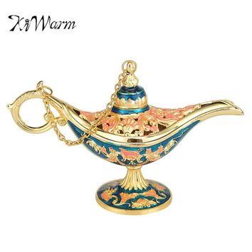KiWarm Home Decoration Vintage Style Fairy Tale Aladdin Magic Lamp Hollow Tea Pot Genie Lamp Ornaments