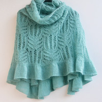Pastel teal big  knitted shawl/ my inspiration/ unique gifts /romantic feminine /women clothing /wedding acessories ing