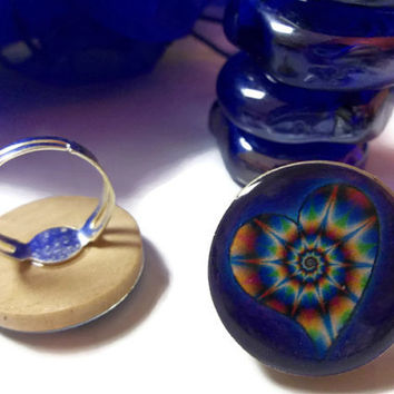 Throat Chakra Adjustable Ring Psychedelic Color Burst Ring Graphic Art Reiki Charged Jewelry For Mind Body Soul